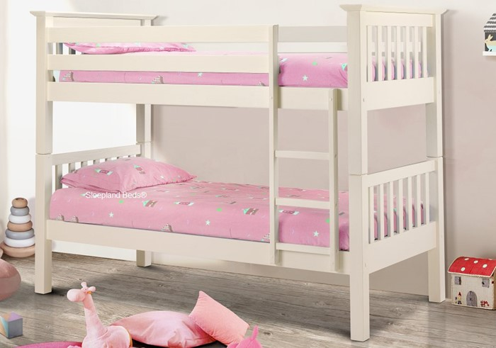 Bacella White Wooden Bed Bunk Beds Sleepland Beds