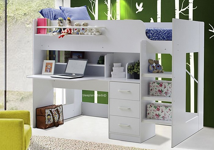 Sleepland Beds Boston Highsleeper Bed With Large Desk In White