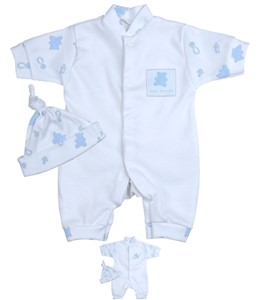 a30cbe3b5222 Boys Blue Teddy/Special Delivery Romper & Hat Set