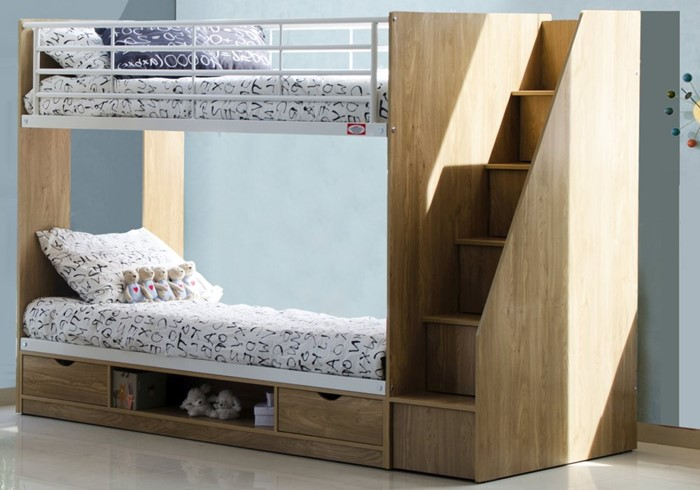 Oak Finish Bunk Beds With Stairs Sleepland Beds
