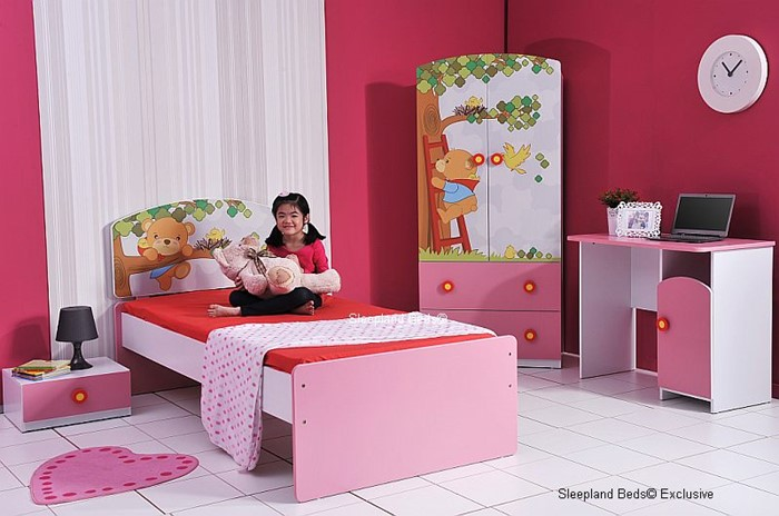 Childrens Pink Teddy Bear Bed And Furniture At Sleepland