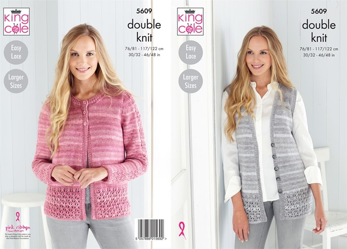 Girls Knitting Pattern Lacy Jumper and Cardigan in Island Beaches DK 5606 King Cole