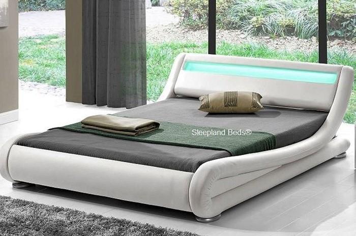 Leo White Bed Frame With Led Lights Kingsize Sleepland Beds