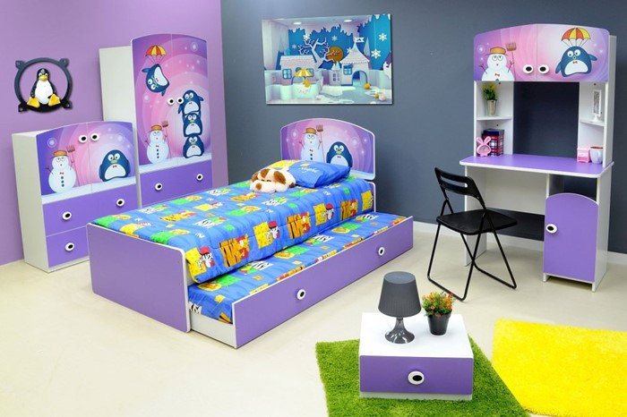 Lilac Penguin Bed With Trundle And Kids, Best Toddler Bedroom Furniture
