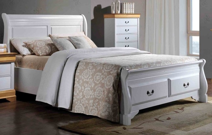 White Wood Sleigh Bed With End Drawers Sleepland Beds