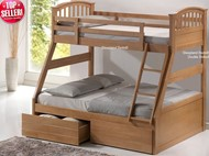 Maple Triple Bunk Beds With Single And Double Memory Foam Mattresses