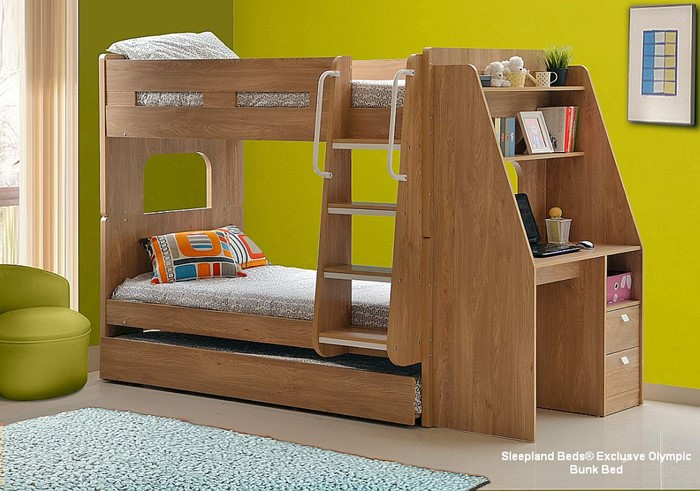 Olympic Bunk Bed With Desk And Guest Bed Sleepland Beds