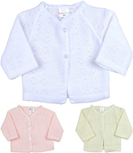BabyPrem Girls Boys Cardigan White Pink Knitted Clothes Toddler 2-6 Years