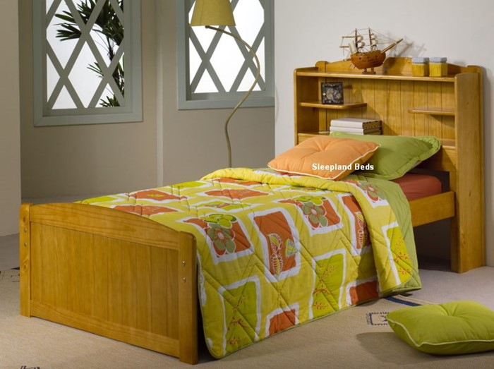 wholesale dealer 7ceda a5c8e Single Pine Bed Frame With Bookcase Storage Headboard ...