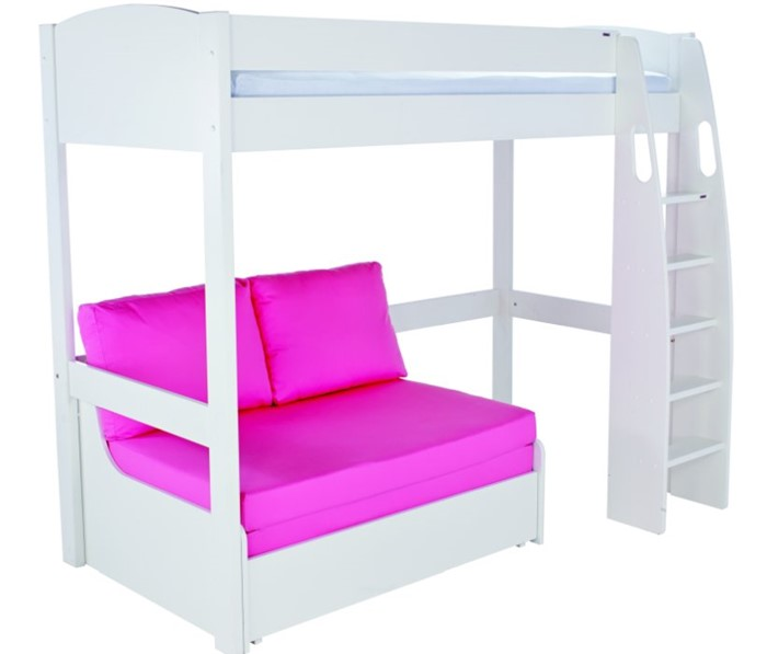 Awesome Stompa Uno S11 White Highsleeper Bed And Pink Double Sofabed Theyellowbook Wood Chair Design Ideas Theyellowbookinfo