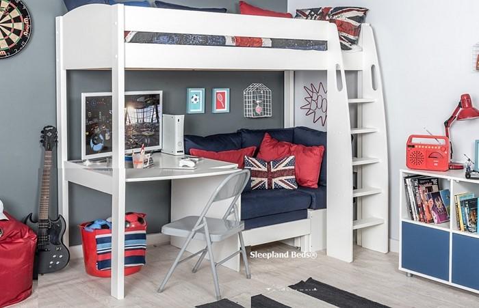 Stompa S21 Highsleeper Desk And Sofa Bed Sleepland Beds