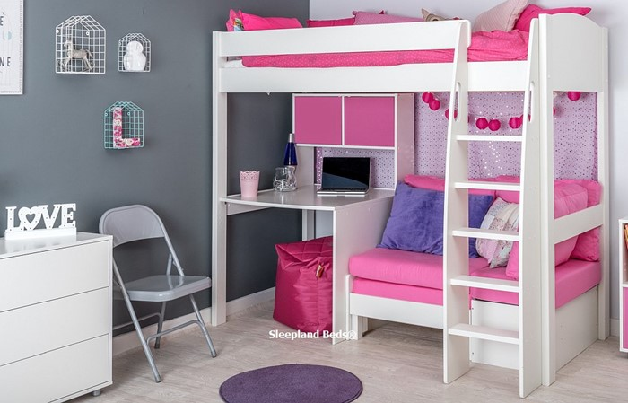 Sensational Stompa Uno S23 High Sleeper With Hutch Desk And Pink Sofa Bed Gamerscity Chair Design For Home Gamerscityorg