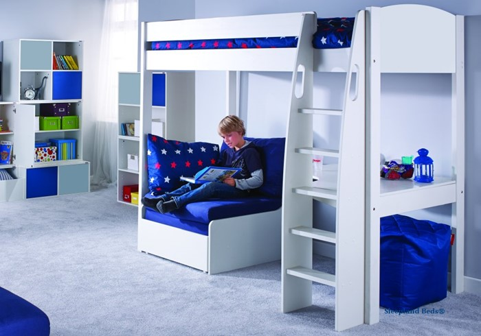 Magnificent Stompa Uno S5 White Highsleeper Bed With Desk And Blue Sofabed Gamerscity Chair Design For Home Gamerscityorg