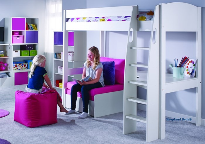 Peachy Stompa Uno S5 White Highsleeper Bed With Desk And Pink Sofabed Gamerscity Chair Design For Home Gamerscityorg