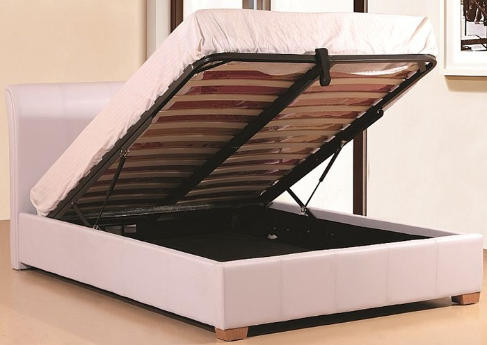 Fine White Ottoman Bed 3Ft Single Luxury White Faux Leather Caraccident5 Cool Chair Designs And Ideas Caraccident5Info