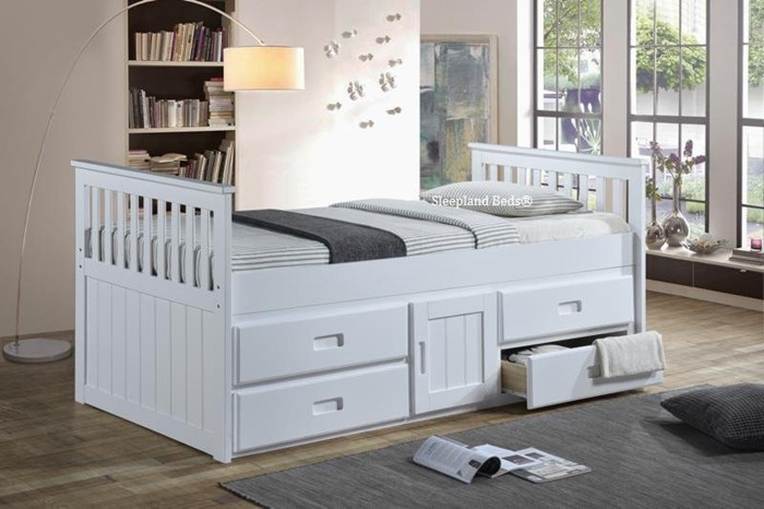 White Rio Single Captains Bed With Storage Cupboard And Drawers