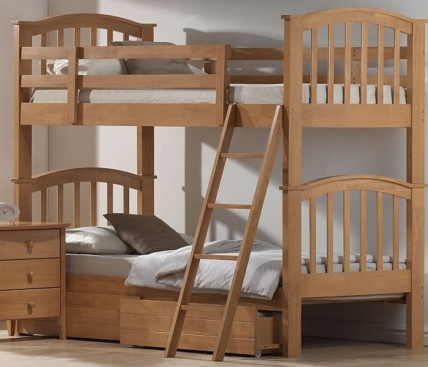 Wooden Bunk Beds With Sleepland Chester Standard Mattresses