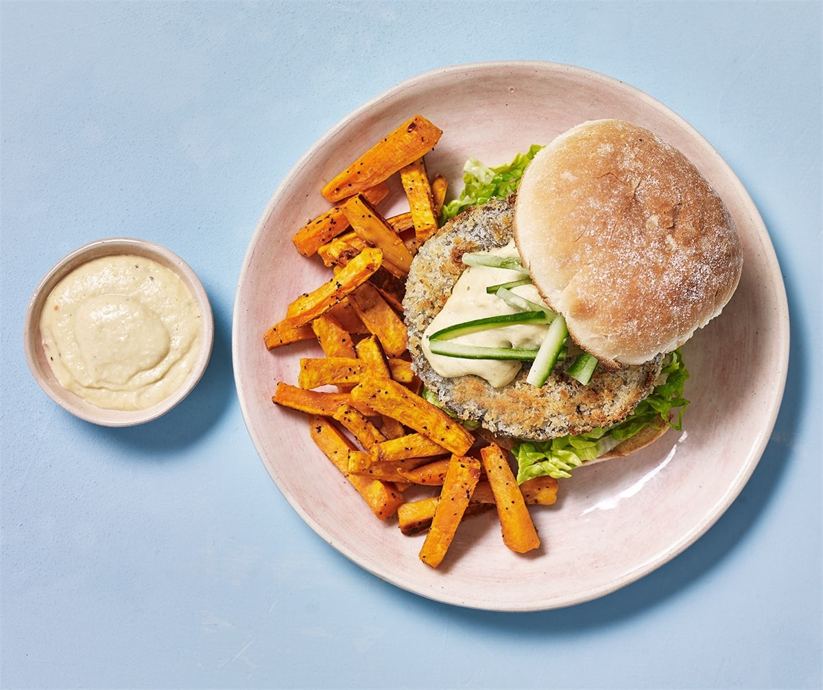 Portobello Burger Katsu Dressing And Sweet Potato Fries
