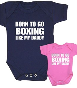 Mummy Born to go Boxing with my Daddy Baby Bib