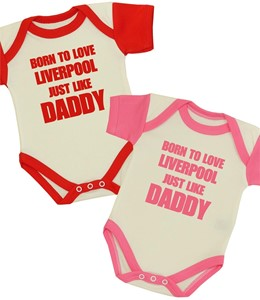 Born To Love Liverpool Like Grandad Baby Vest Grow Fathers Day Gift Football
